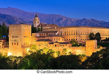 Alhambra palace, Granada, Spain - Alhambra palace at night,...