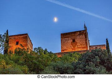 Alhambra Towers Moon Flags Albaicin Granada Andalusia Spain...