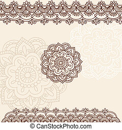 alheña, flor, y, frontera, diseño, conjunto