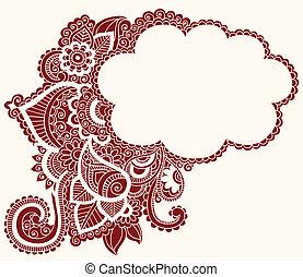 alheña, mehndi, tatuaje, doodles, nube