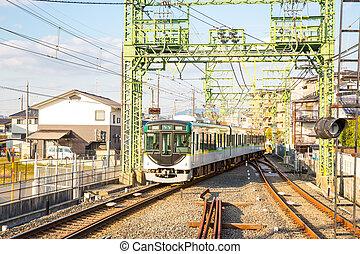 alhier, locomotief, trein, op, kyoto