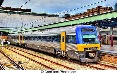 alhier, trein, op, sydney, centraal station