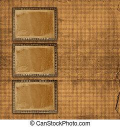 aliéné, décoratif, utilisé, or, annonce, papier, fond