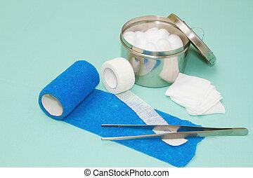 aliños médicos, herida, kit