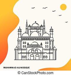 ali, cartel, viaje, mezquita, muhammad, plantilla