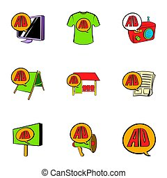 Ali express icons set, cartoon style