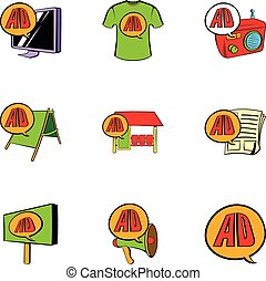 Ali express icons set, cartoon style - Ali express icons...