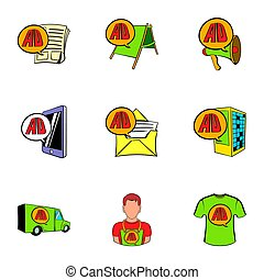 Ali Express shop icons set, cartoon style