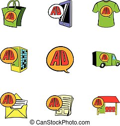 Ali express store icons set, cartoon style - Ali express...