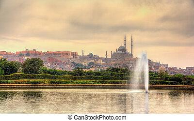 ali, muhammad, al-azhar, aanzicht, park, moskee, citadel
