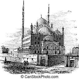 ali, vendimia, mezquita alabastro, el cairo, egypt.,...