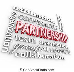 alianza, palabra, collage, sociedad, equipo, asociación, 3d