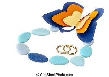 alianza, y, bodas, favores