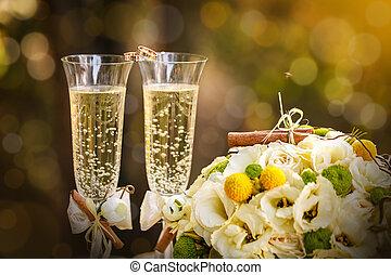 alianzas, con, rosas, y, copas de champán