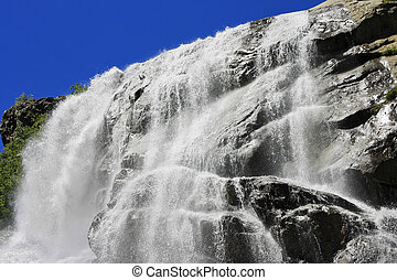 alibek, nord, montagnes., waterfall., dombai, caucas, ...