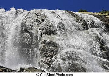 alibek, nord, paysages, waterfall., caucas, montagnes., ...