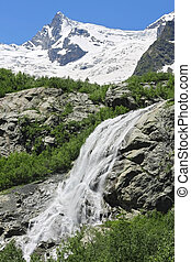 alibek, nord, waterfall., caucas, montagnes., dombay