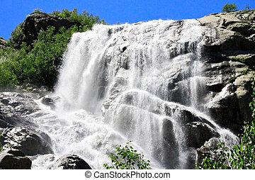 alibek, nord, waterfall., caucas, montagnes., dombay