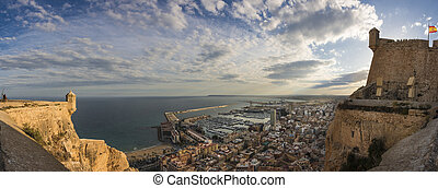 Alicante panoramic view from the Santa Barbara castle, Spain