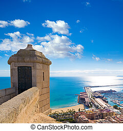 Alicante Postiguet beach view from Santa Barbara Castle