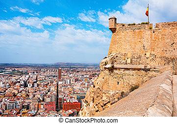 Alicante Santa Barbara castle in Costa Blanca, Spain