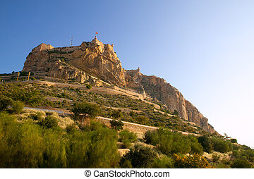Alicante Santa Barbara Castle in Spain high up the mountain...