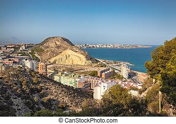 Alicante View from the Fortress of Santa Barbara.