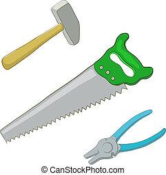 alicates, martillo, sierra