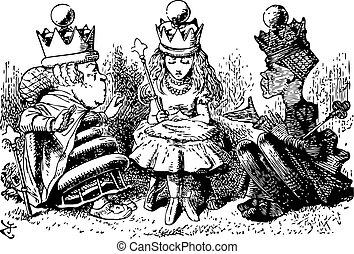 alice, à, les, rouge blanc, reines, -, travers verre regardant, et, quel, alice, trouvé, là, original, livre, gravure