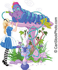 Alice and Blue Caterpillar - Alice talking with Blue...