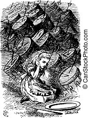 Alice Being Drummed Out of Town - Through the Looking Glass and what Alice Found There original book engraving