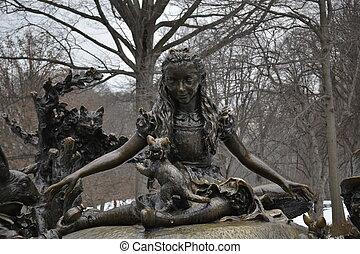 Alice in Central Park - Sculpture of Alice in wonderland...