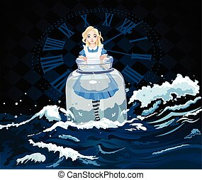 Alice in the Jar - Alice stands in a transparent jar on ...