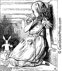 Alice grown big looking at the White Rabbit returning, splendidly dressed