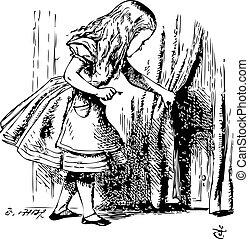 Alice is looking behind a curtain to reveal a hidden door -...
