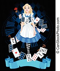 Alice in Wonderland - Alice is standing on background of the...