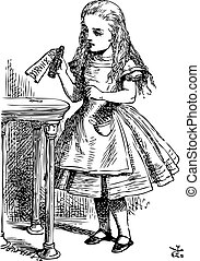 Alice in Wonderland. Drink me. Alice is picking up a small bottle on the table, which has a label that you can read Drink Me.Alice's Adventures in Wonderland. Illustration from John Tenniel, published in 1865.