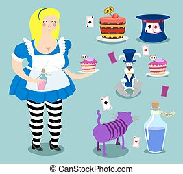 Alice in Wonderland icon set. Fat woman and Cheshire cat. Rabbit in hat. Cylinder is Mad Hatter. Magic Potion and piece of cake
