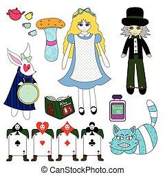 Alice in Wonderland isolated on White Background