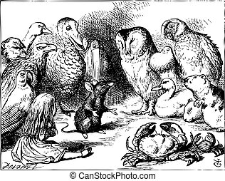 Alice in Wonderland. The mouse tells Alice a story. The mouse is telling a story to the crowd of animals. Alice's Adventures in Wonderland. Illustration from John Tenniel, published in 1865.