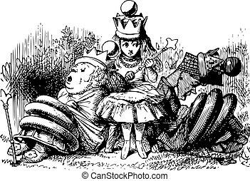 alice, met, de, slapende, koninginnen, -, door het kijkend...