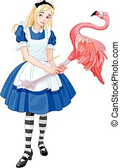 Alice Plays Croquet - Illustration of cute Alice Plays...