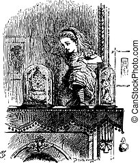 Alice pushes through the mirror - Through the Looking Glass and what Alice Found There