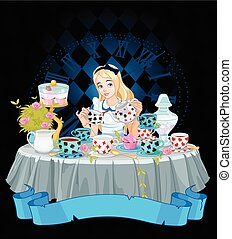 Alice Takes Tea Cup - Alice pours a cup of tea from the...