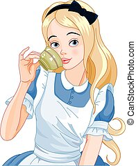 Alice Takes Tea Cup - Illustration of Alice pours a cup of ...