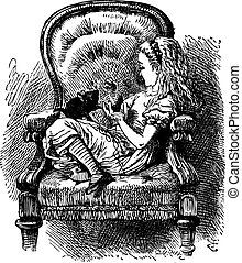 """Alice talks to the Kitten - Through the Looking Glass and What Alice Found there original book vintage engraving. """"Do you know, I was so angry, Kitty,"""" Alice went on as soon as they were comfortably settled again..."""
