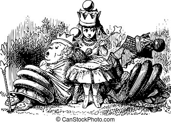 Alice with the Sleeping Queens - Through the Looking Glass and what Alice Found There original book engraving