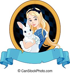 Alice with White Rabbit - Illustration of Alice holds white...