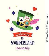 alice wonderland, bandiera, manifesto, e, card., noi, ara, pazzo, qui
