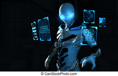 3d illustration of a futuristic alien